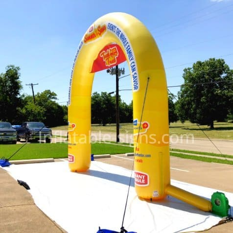 inflatable arch made in usa, yellow and red, custom made in america