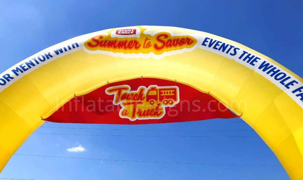 custom made standard inflatable arch yellow an red