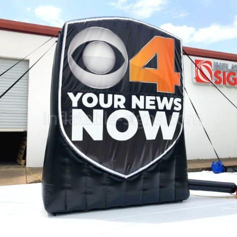 CBS4 Indy Inflatable Logo, black and orange and white